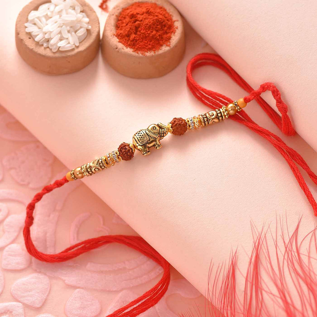 Ethnic Elephant Rudraksha Rakhi Thread With Beads
