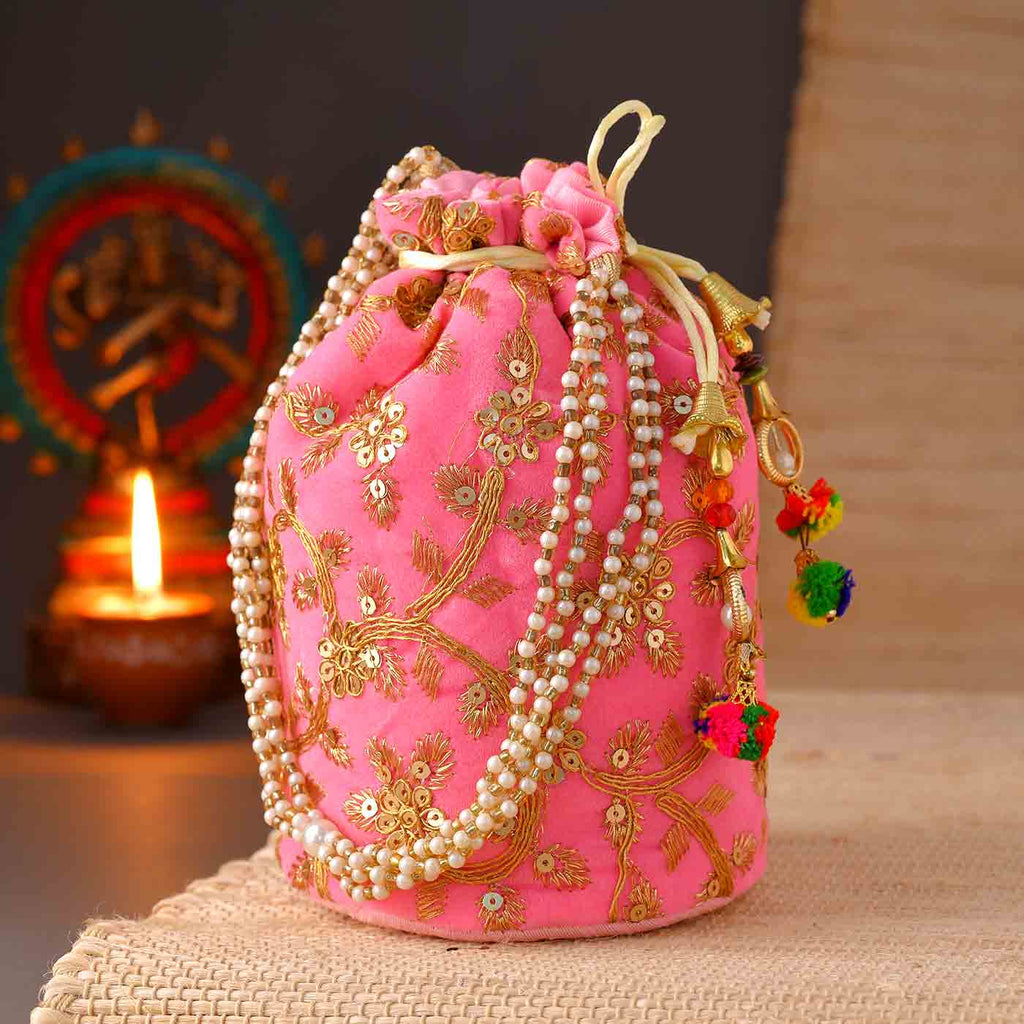 Party Potli Bag With Embroidery