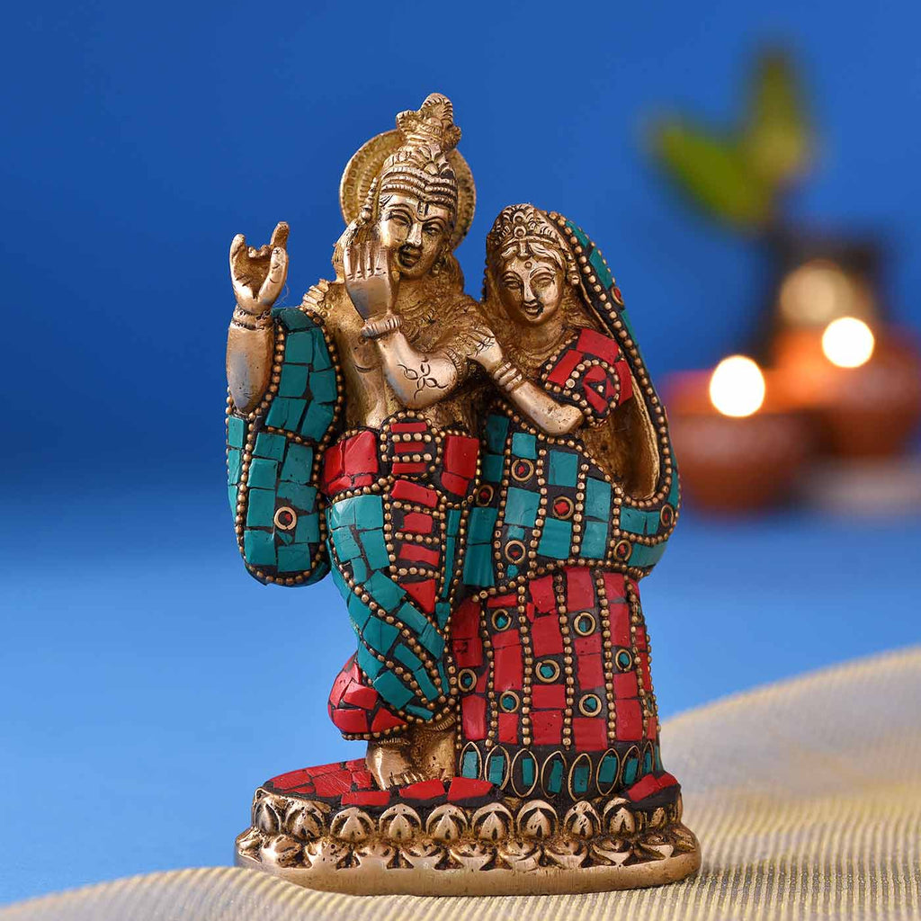 Marvelous Radha Krishna Colourful Brass Idol