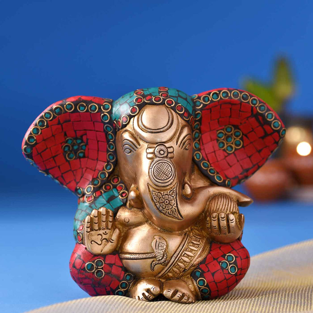 "Colourful ""Vignaharta"" Ganesha Brass Idol"