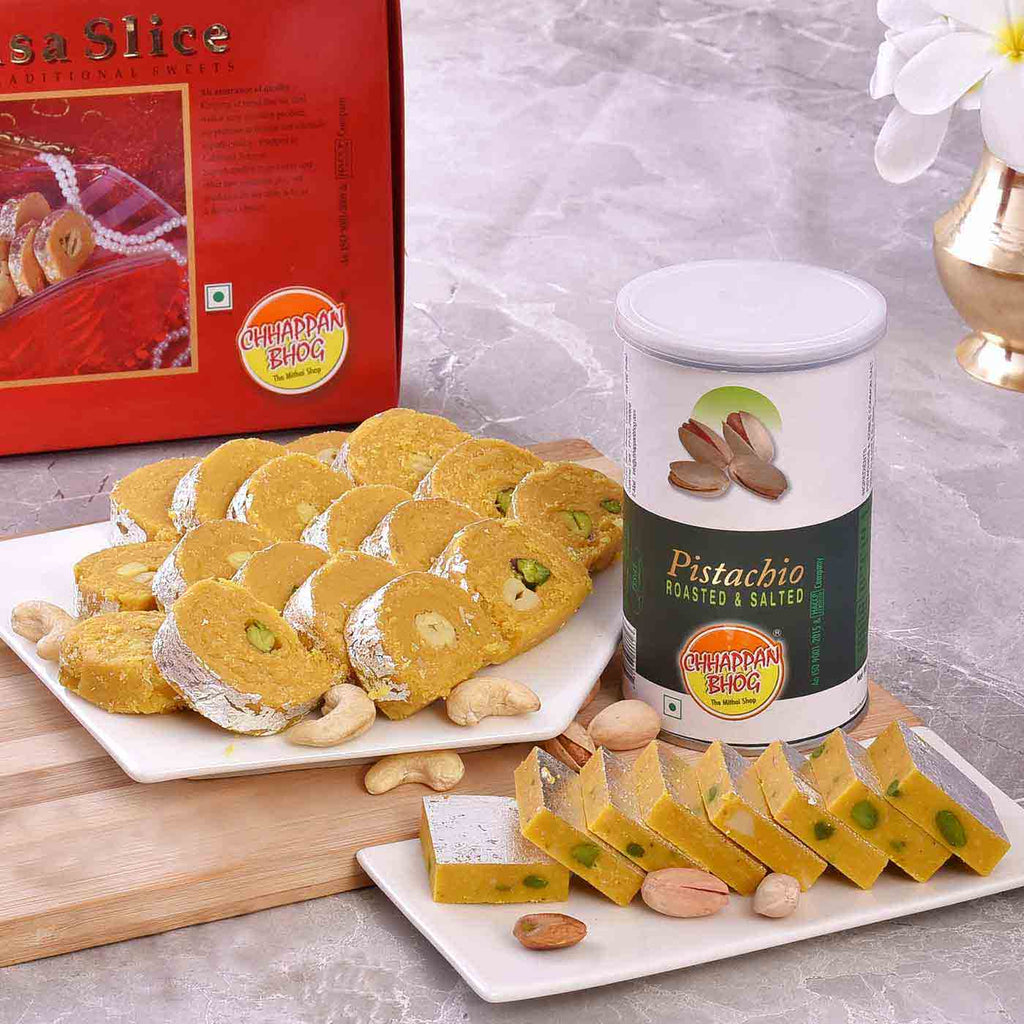 Perfect Hamper Of Batisa Slice, Kaju Kesar & Pistachios CAN