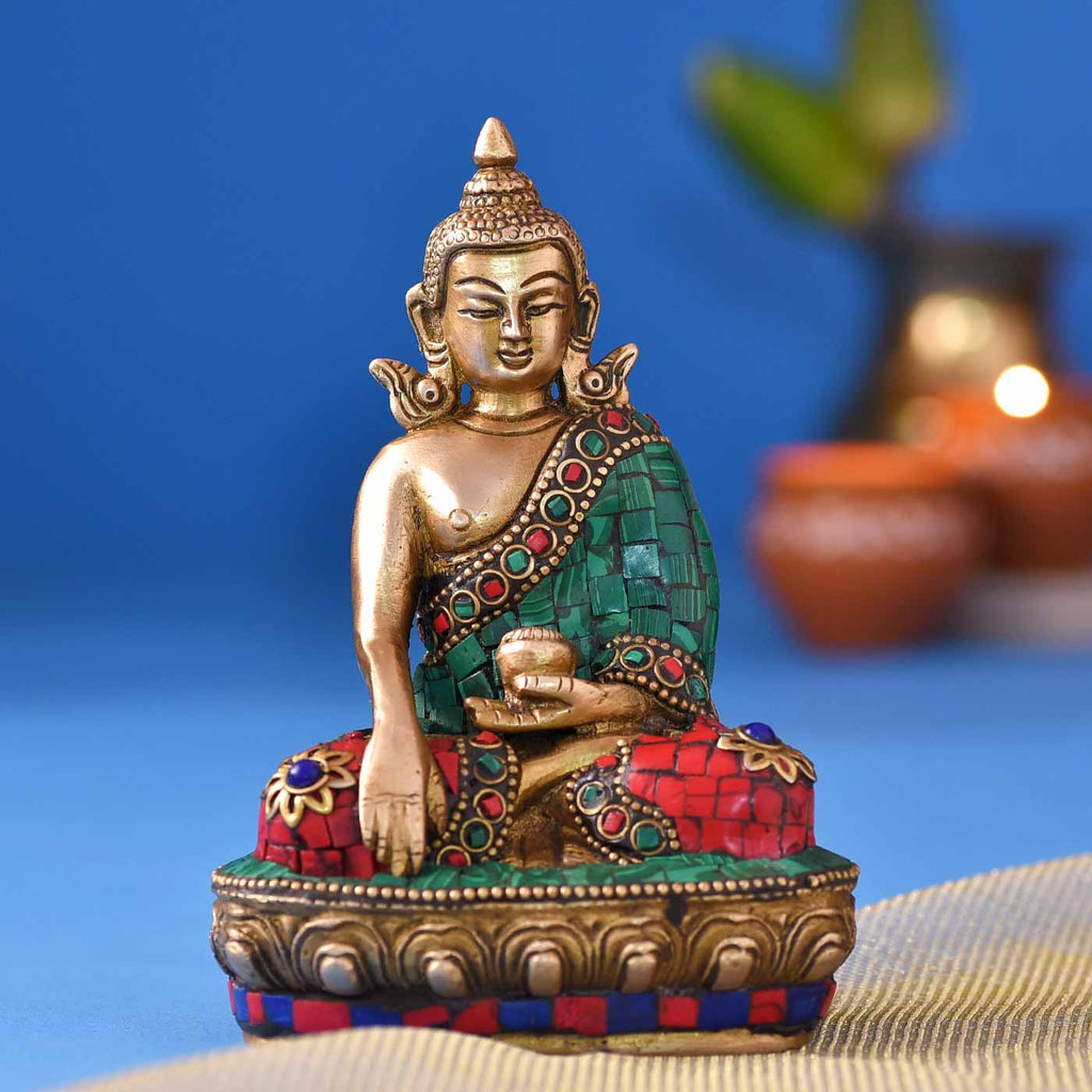 Serenity Of Buddha Colourful Brass Idol