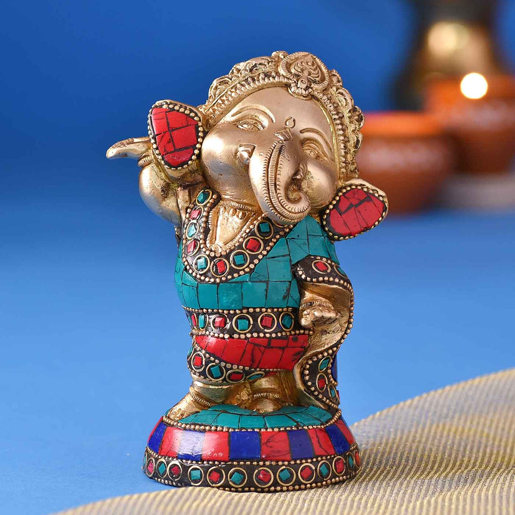 Colourful Cheerful Ganesha Brass Idol