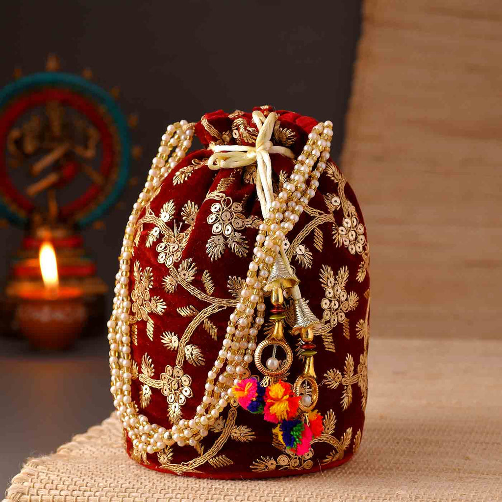 Stylish Maroon Zari Potli Bag
