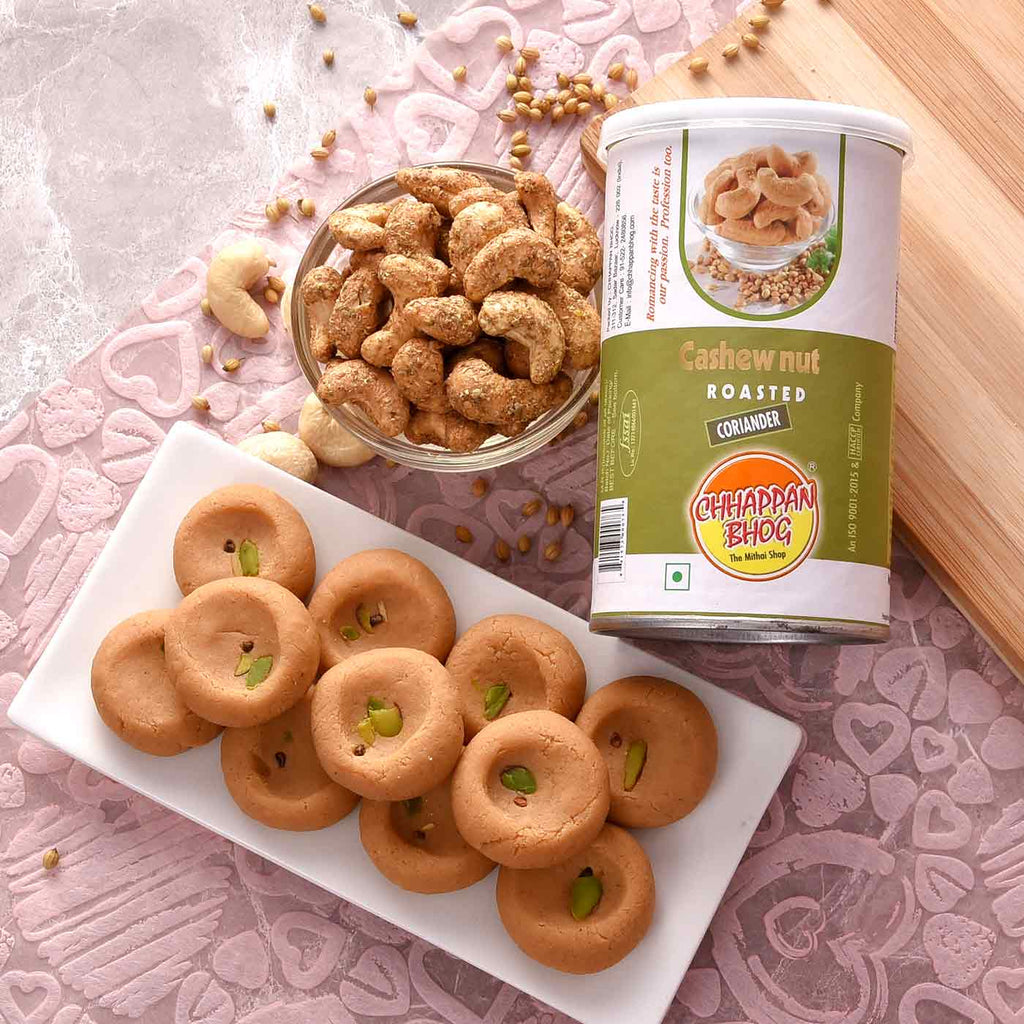 Celebration Hamper Of Mathura Peda With Cashew Coriander
