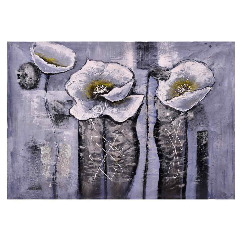 Floral Shades Of Grey Art Painting