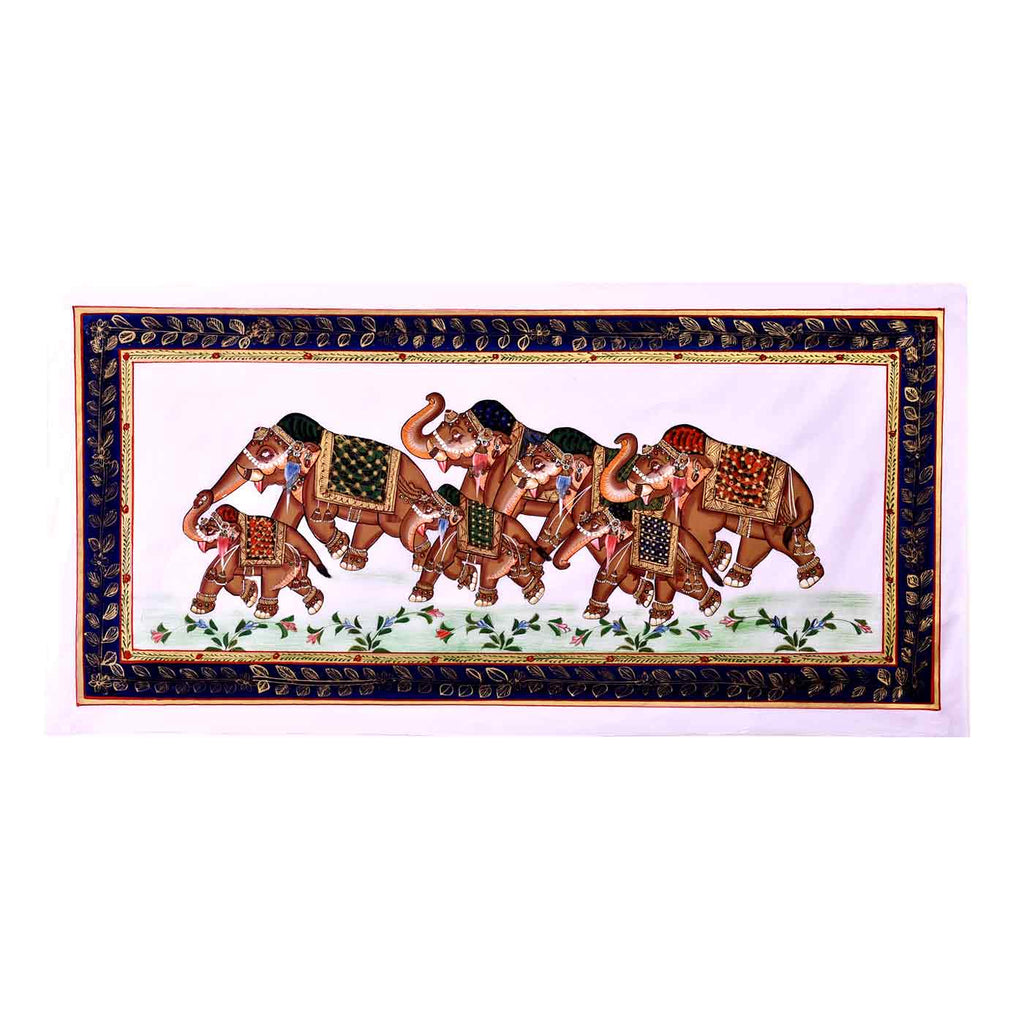 The Elephants Prade Silk Painting