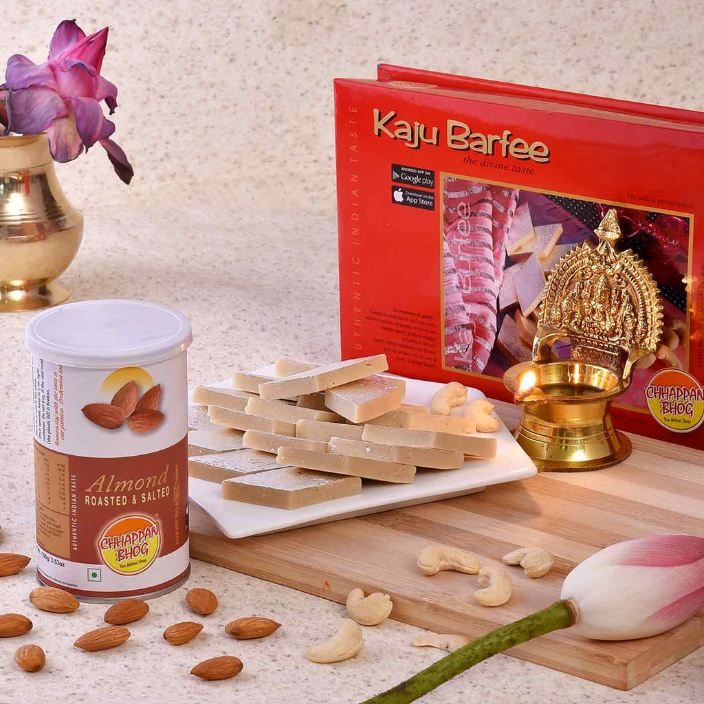 Hamper of Kamakshi Brass Diya, Kaju Barfee And Roasted Almonds