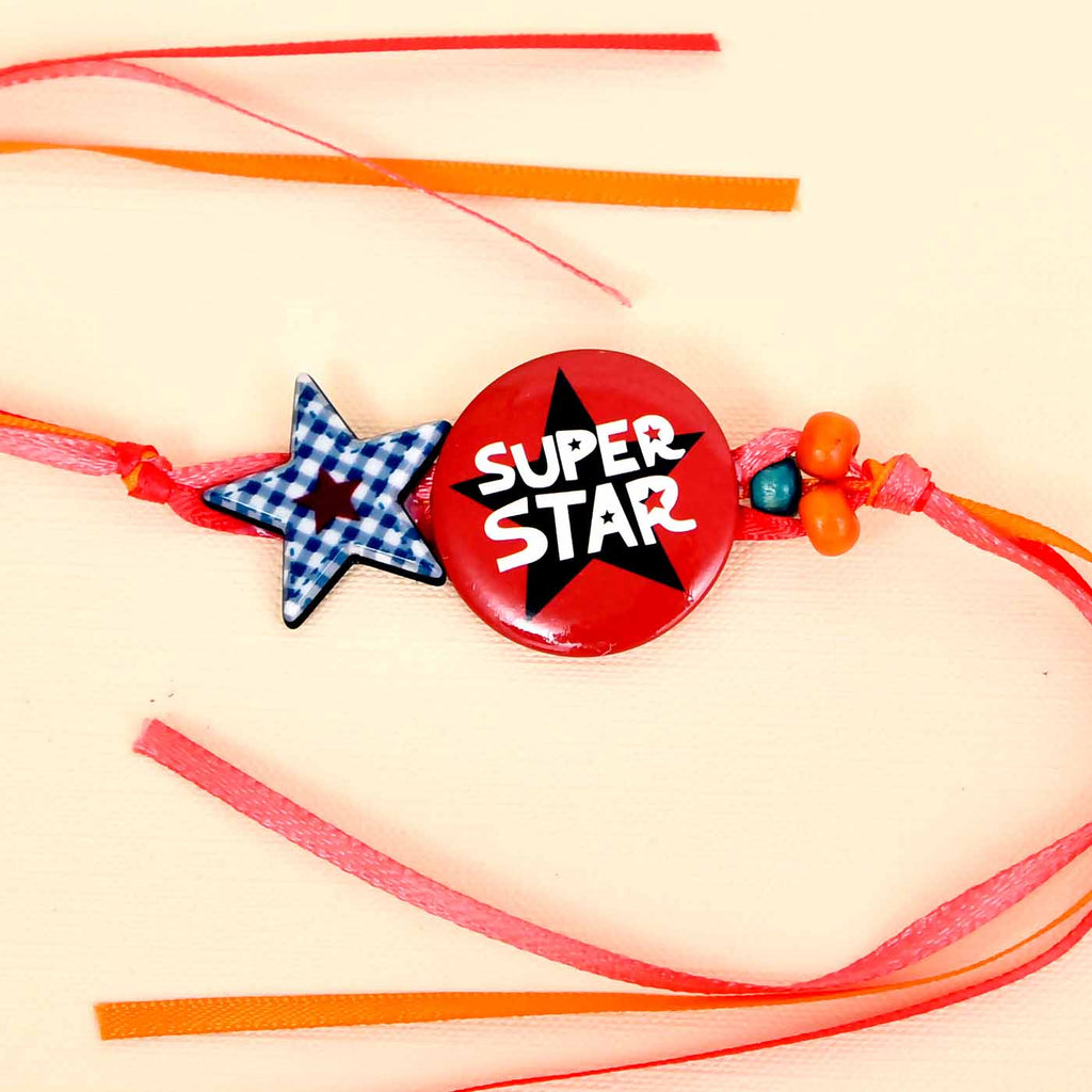 Cute Kid's Superstar Rakhi With Pista Rolls