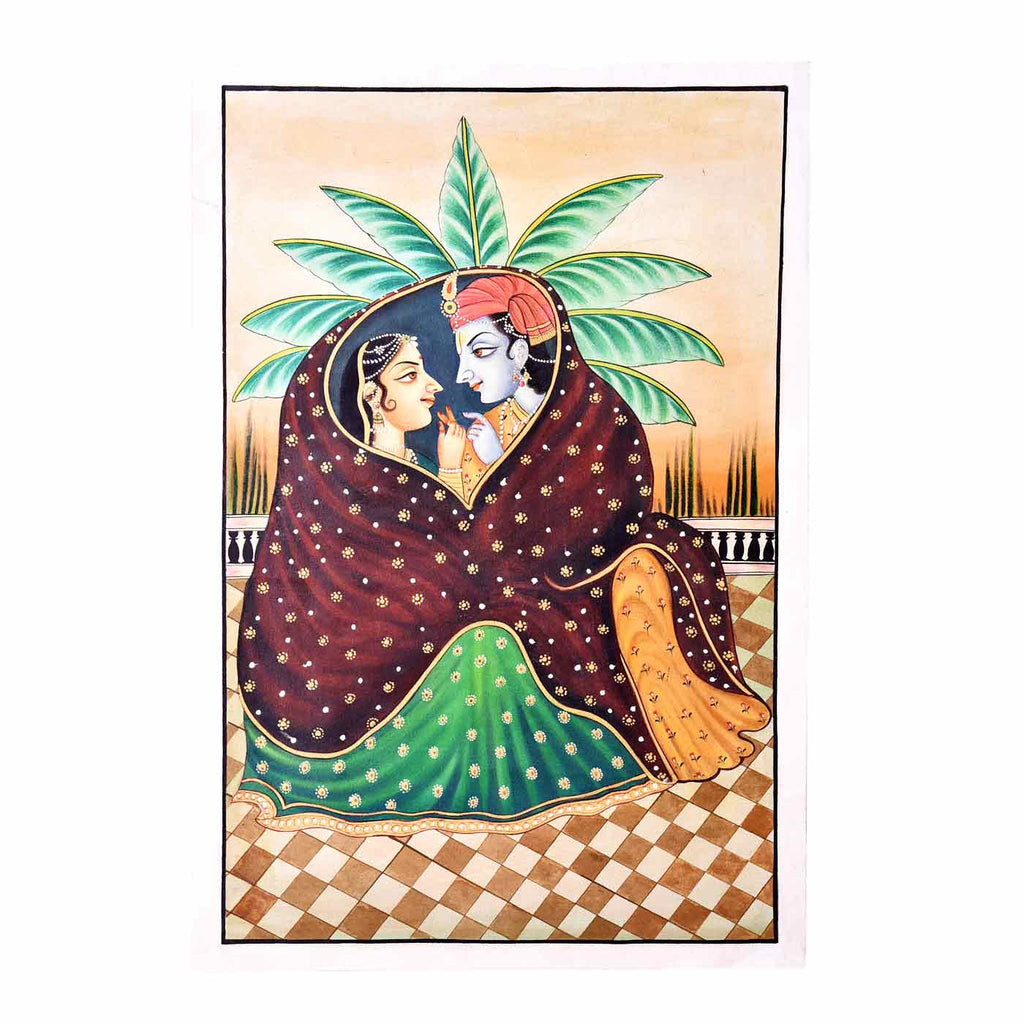 Immortal Love Of Radha-Krishna Phad Painting