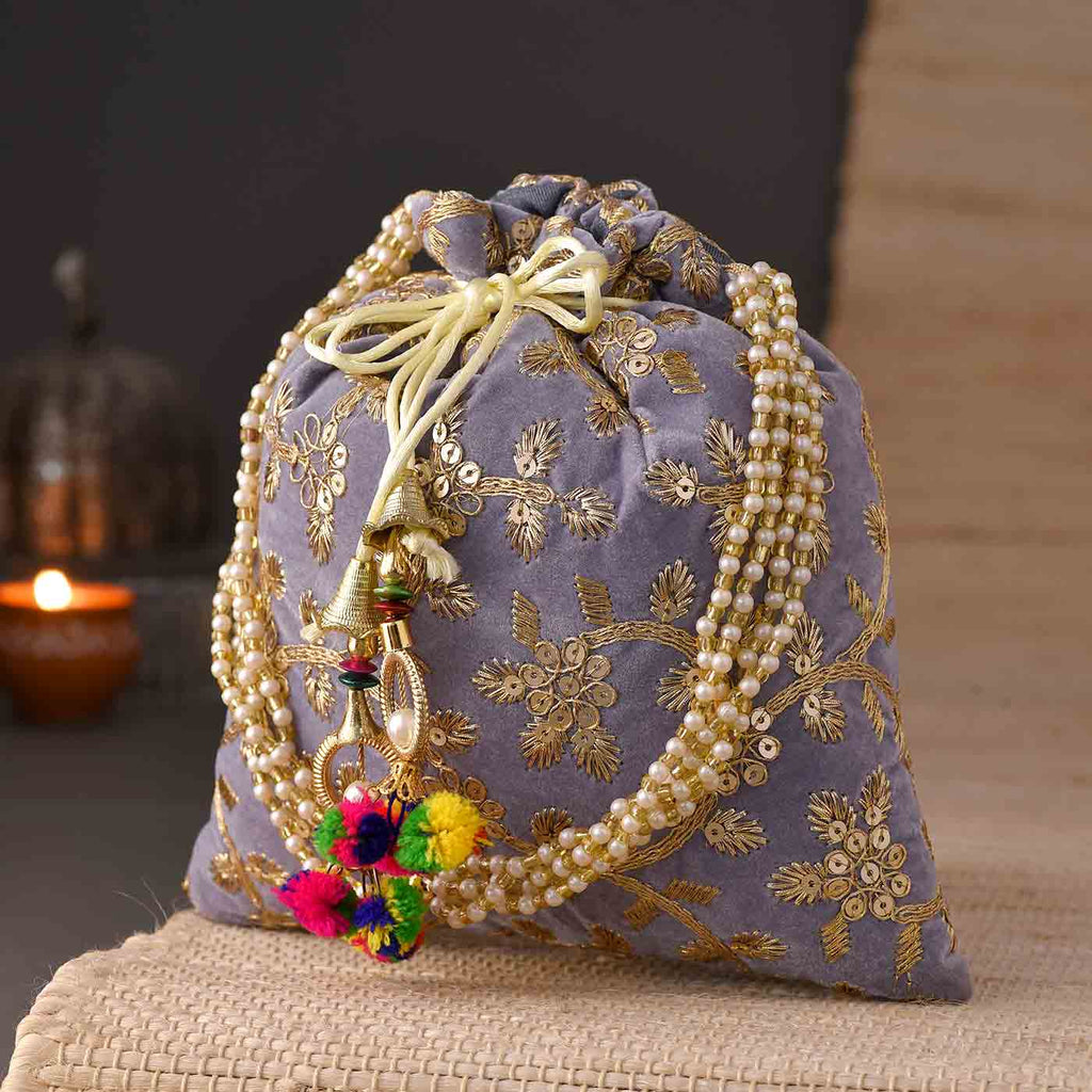 Beautiful Zari Work Mauve Potli Bag