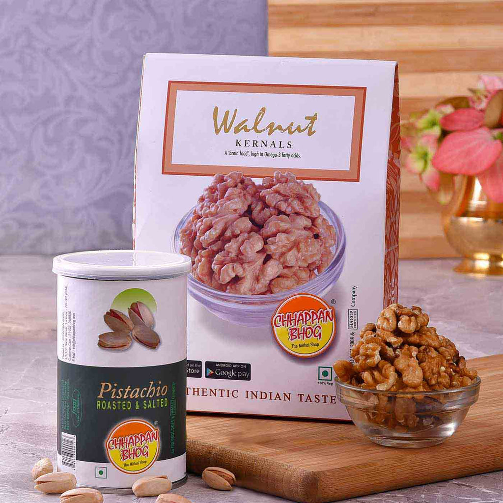 Exotic Combo Of Roasted Salted Pistachios (100g) & Walnut (250g)