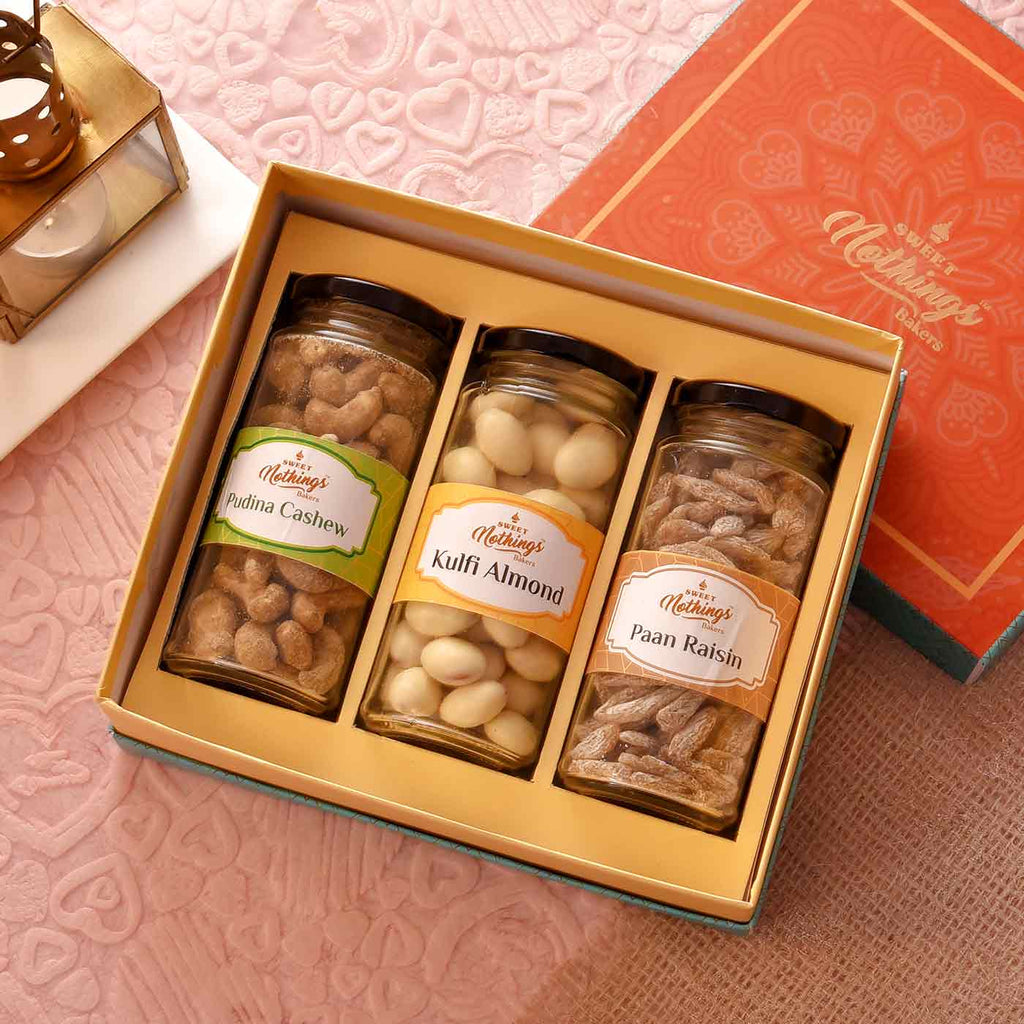 Celebration Hamper Of Paan Raisin, Kulfi Almond & Lemon Cashew