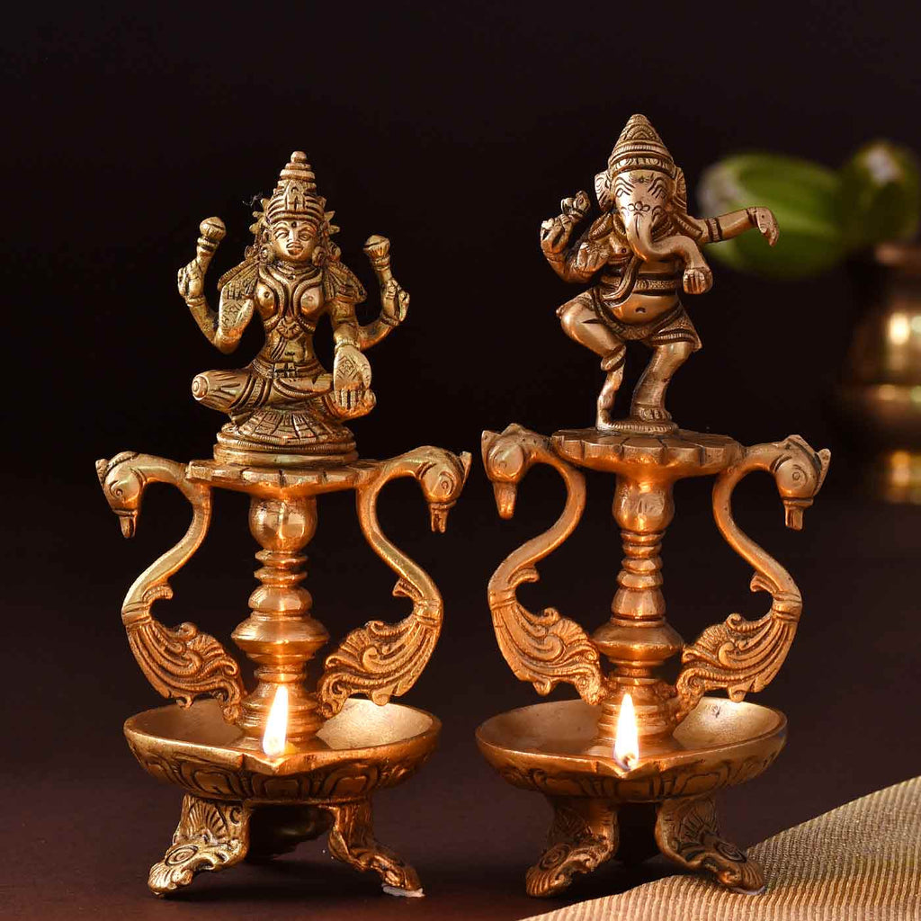 Marvelous Brass Diya Set Of Lakshmi & Ganesha
