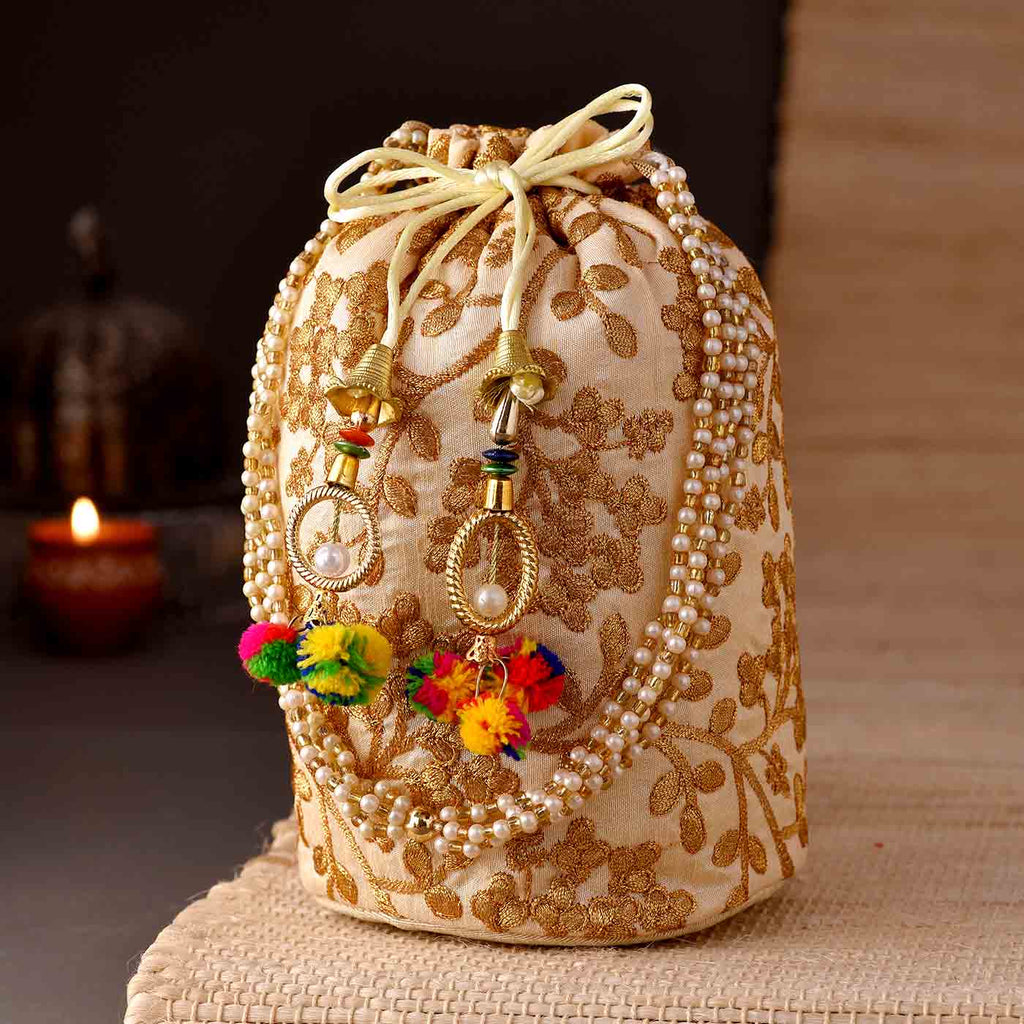 Beautiful Zari Embroiderey Potli Bag