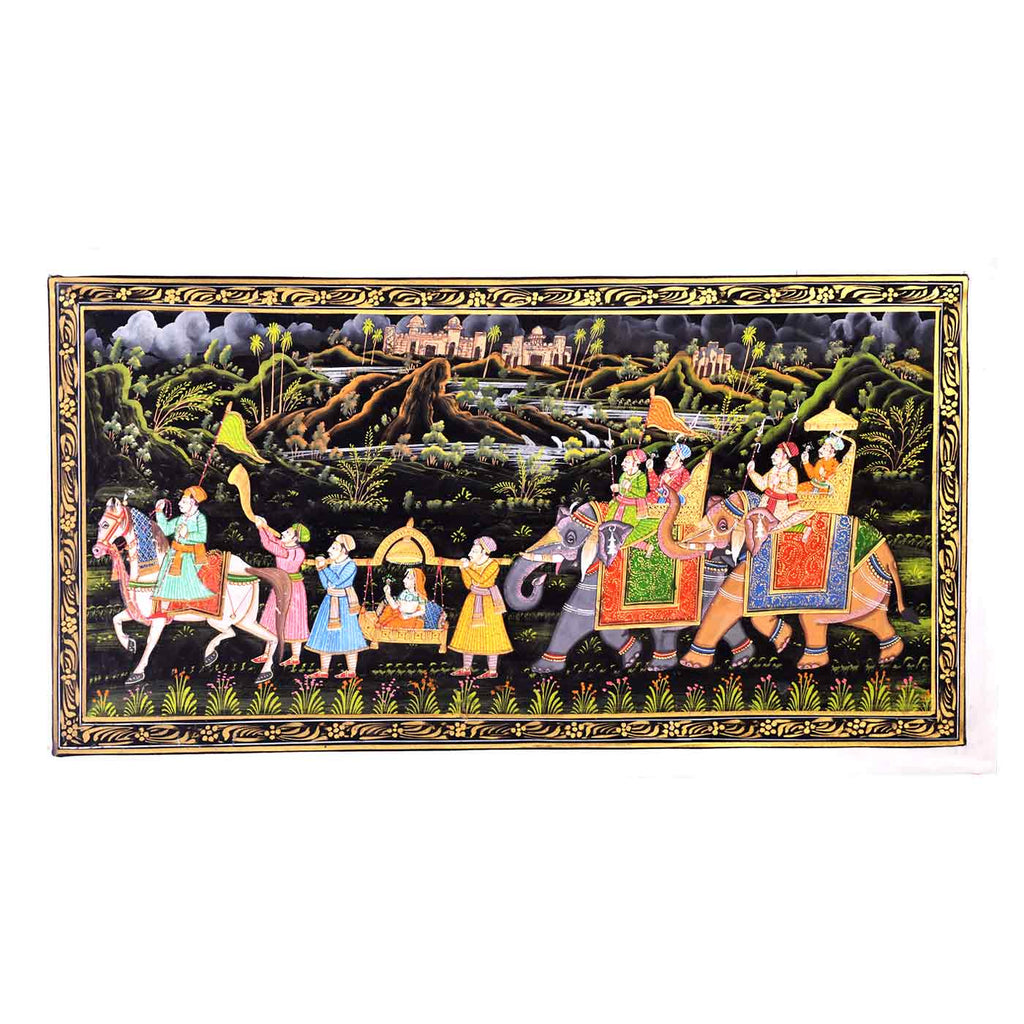 Queen's Procession Phad Silk Painting