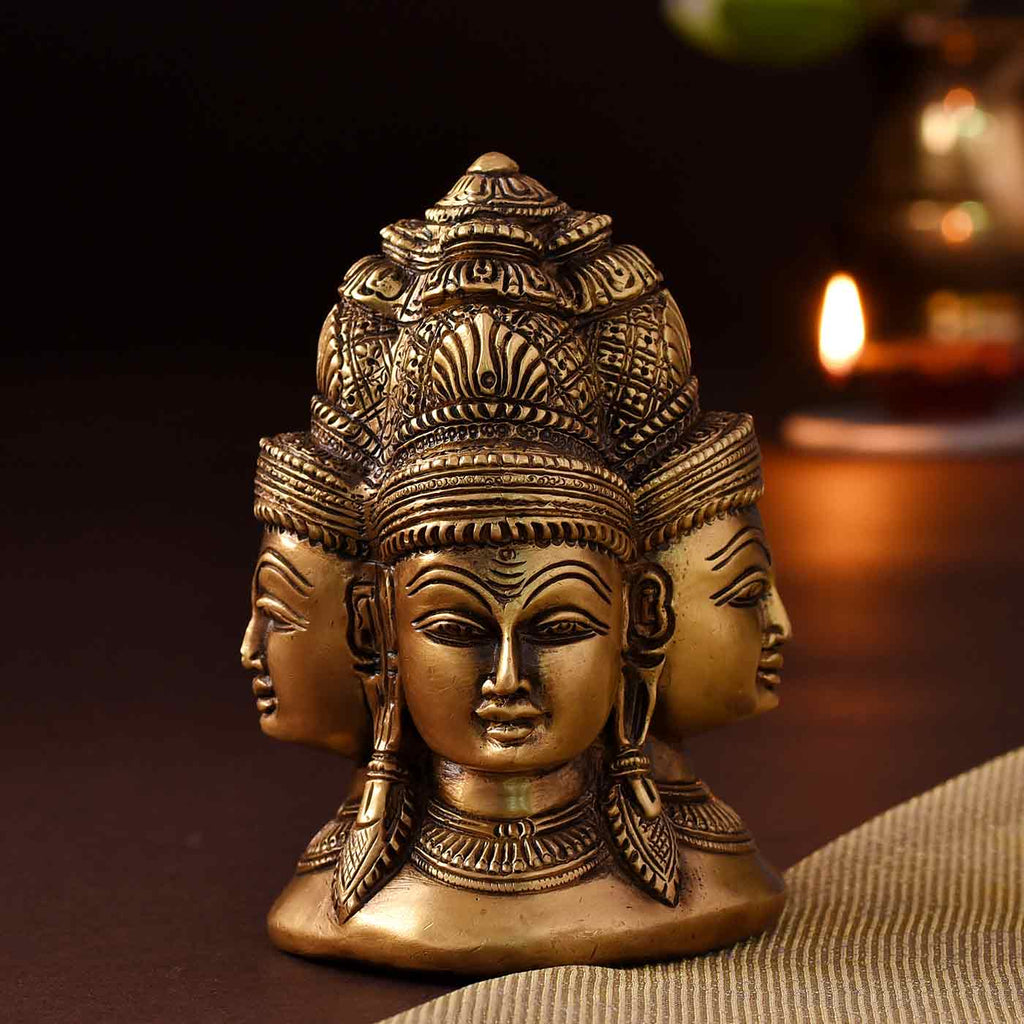Enchanting Brass Stupa Of 4 Faces Of Shiva