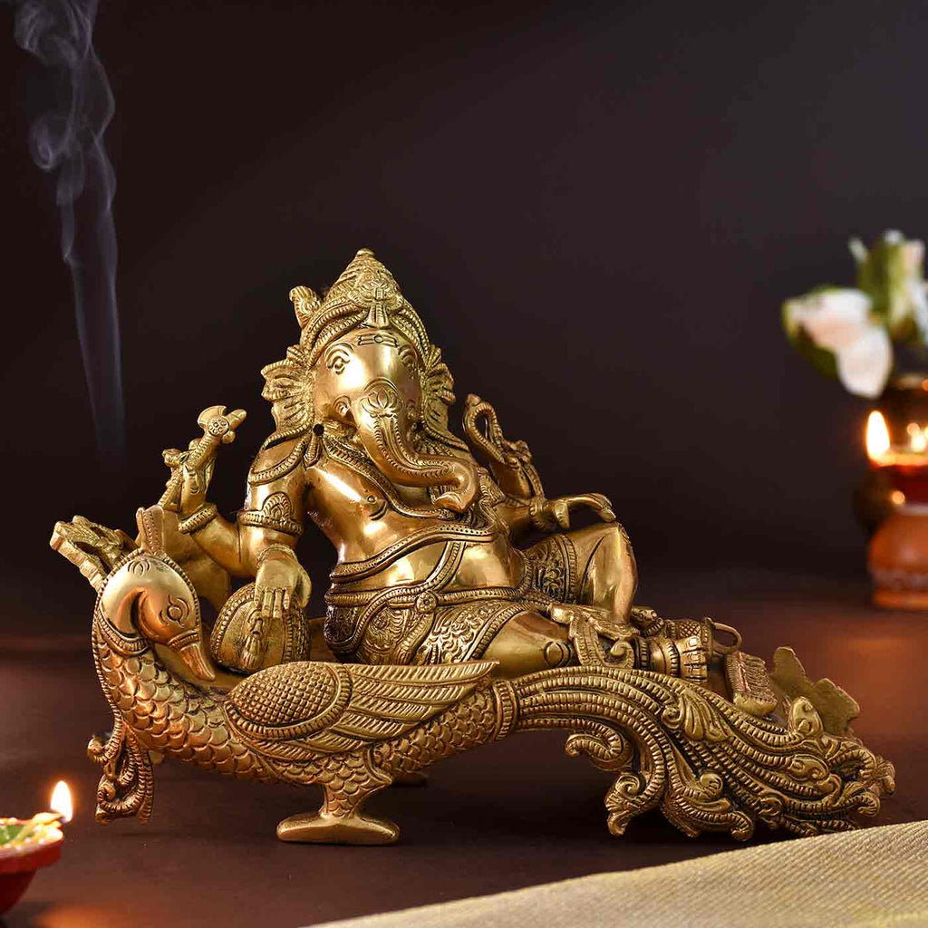 Divine Ganesha In Relaxed Poze Brass Idol