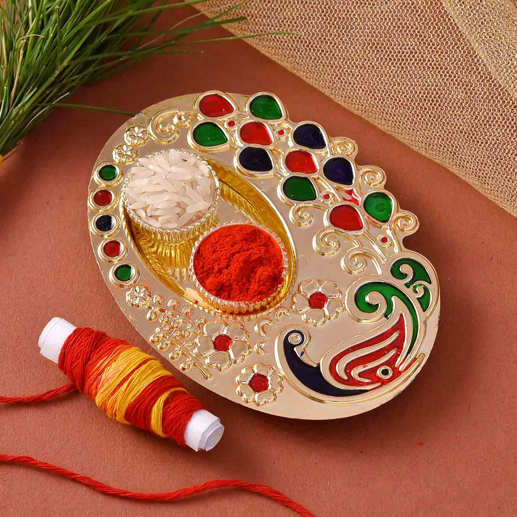 Peacock Silver Palette Thali With Tikka