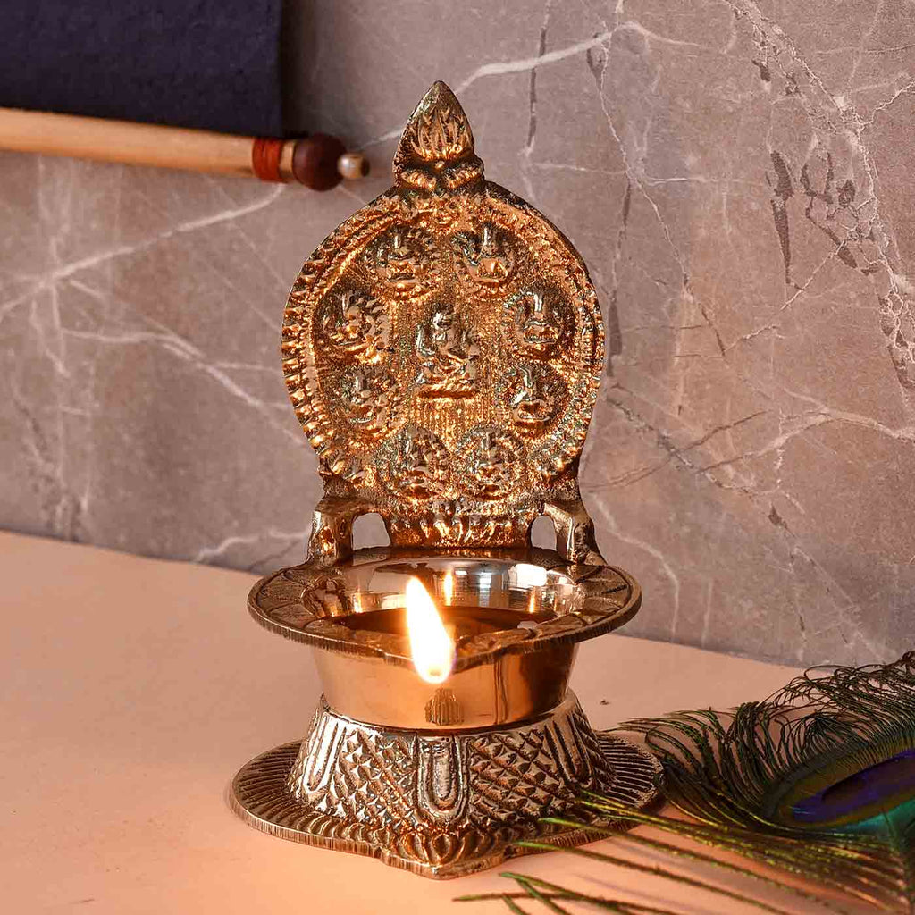 Traditional Ganesha Ashtalakshmi Brass Diya (9.4 cm  / 3.7 Inches)