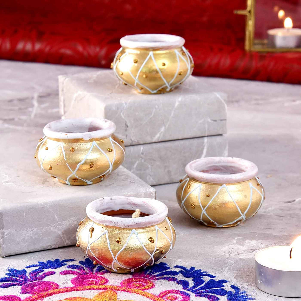 Classy Set Of 4 Matki Shaped Handpainted Diyas