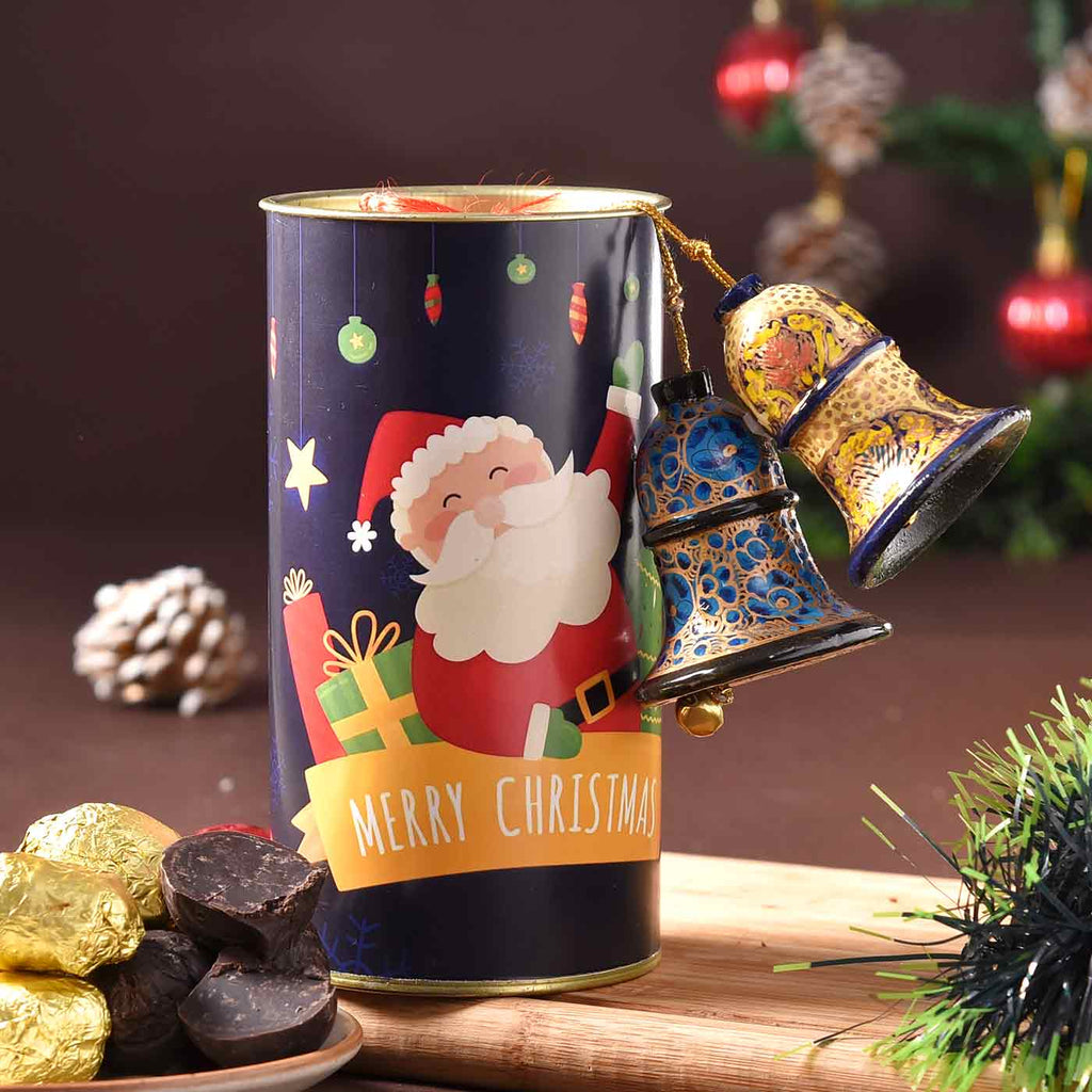 Yummy Truffle Can With Handcrafted Papier Mâché Christmas Bells