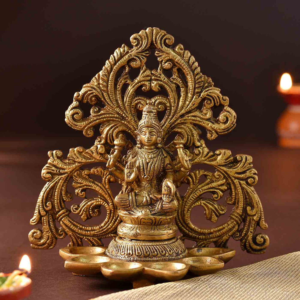 Paanch Diya Lakshmi Brass Idol