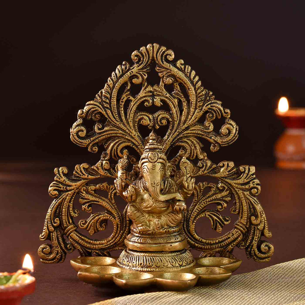 Paanch Diya Ganesha Brass Idol