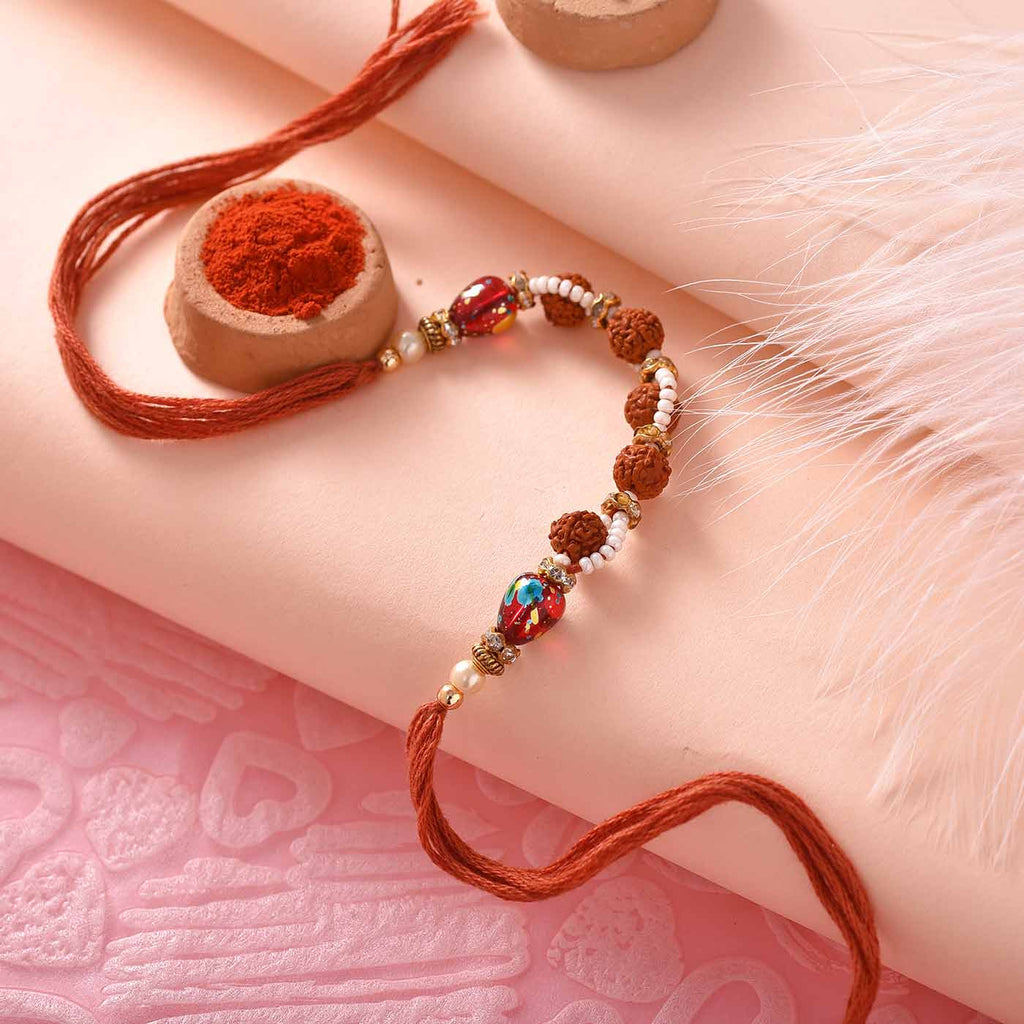 Fancy Panch Rudraksha And Beads Rakhi Thread