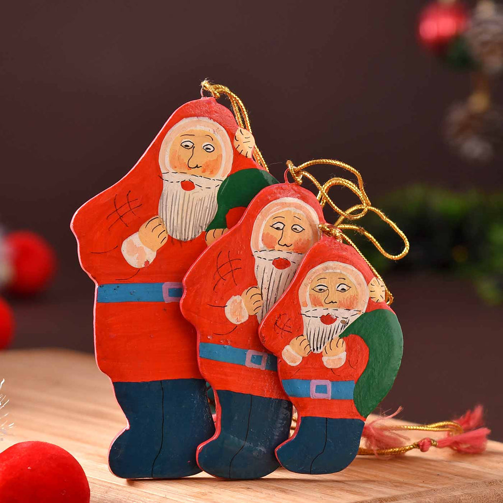 Cute Set Of 3 Decorative Papier Mâché Santa