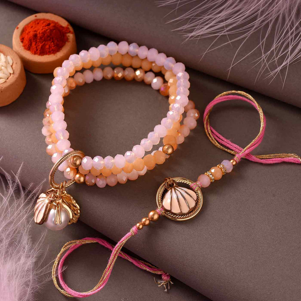 Modish and Peachy Rakhi Set