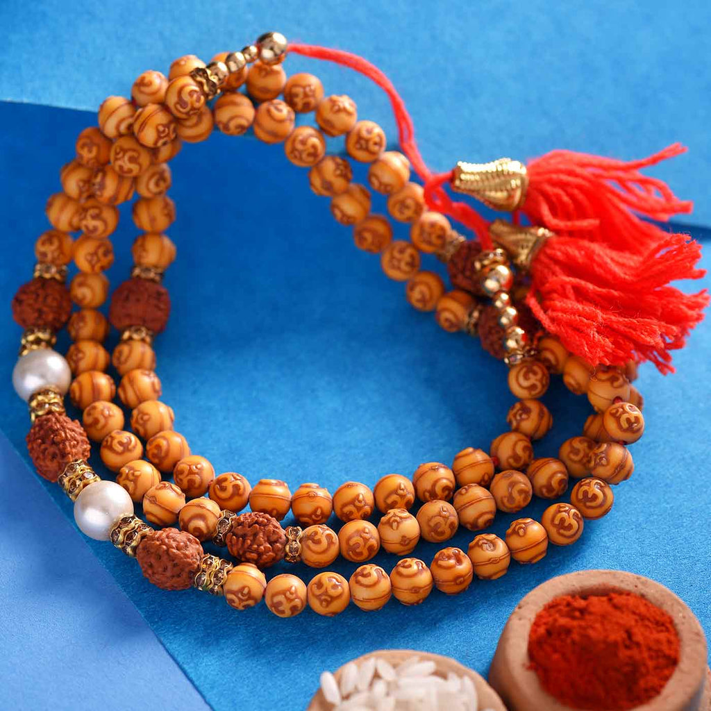 Rudraksha, Pearls & Om Yellow Beads Rakhi Thread