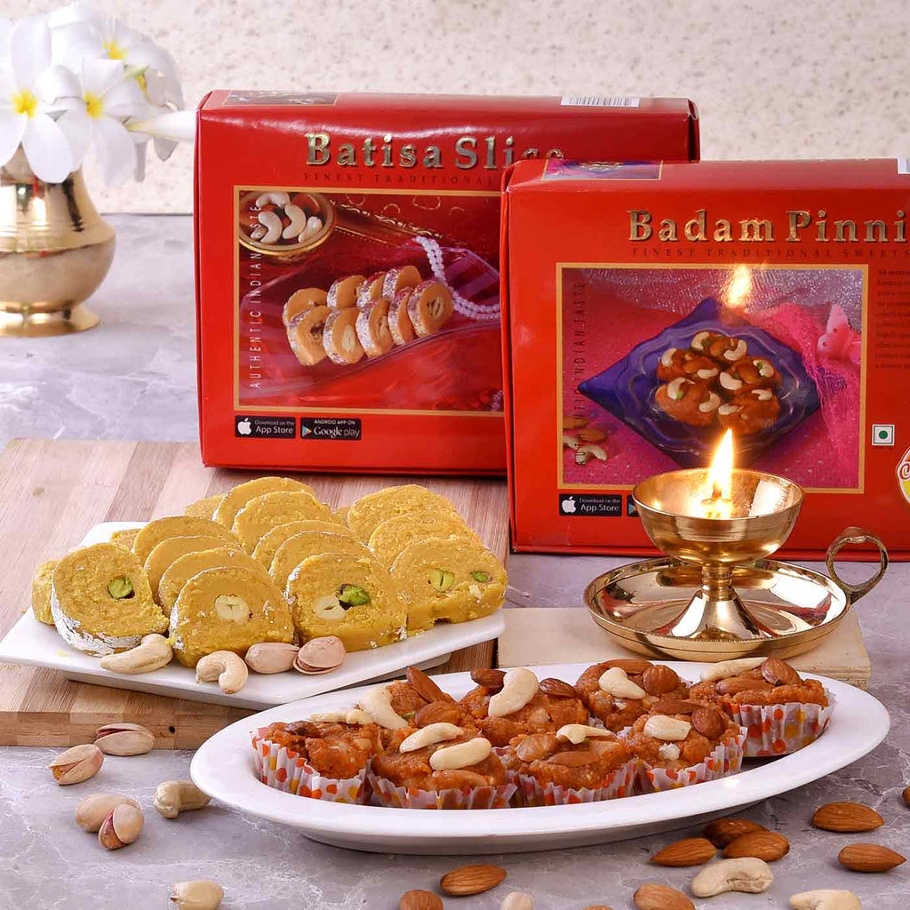 Celebration Hamper Of Nanda Sampat Deep, Badam Pinni & Batisa Slice