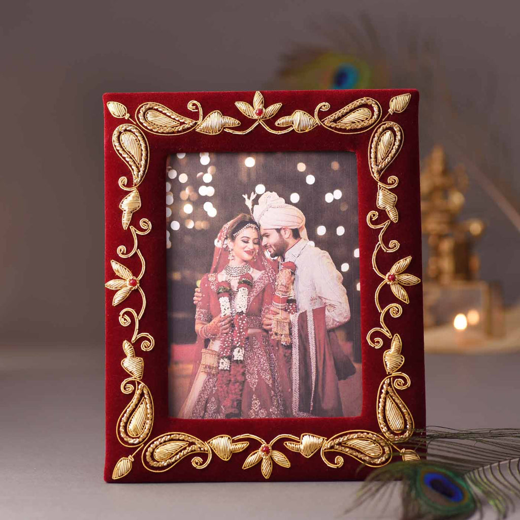 Fine Zari Work Photo Frame