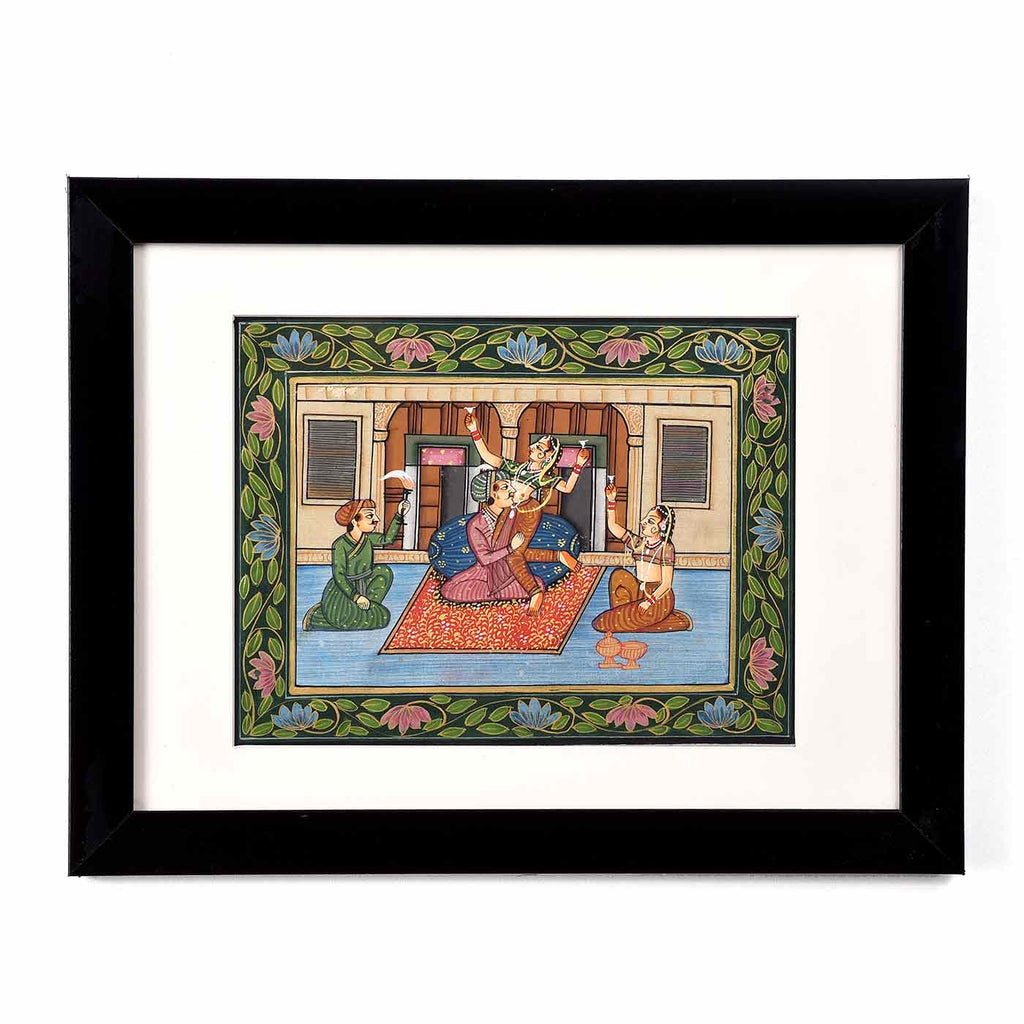 Mughal Royalty Harem Framed Painting (13.5*10.5 Inches)