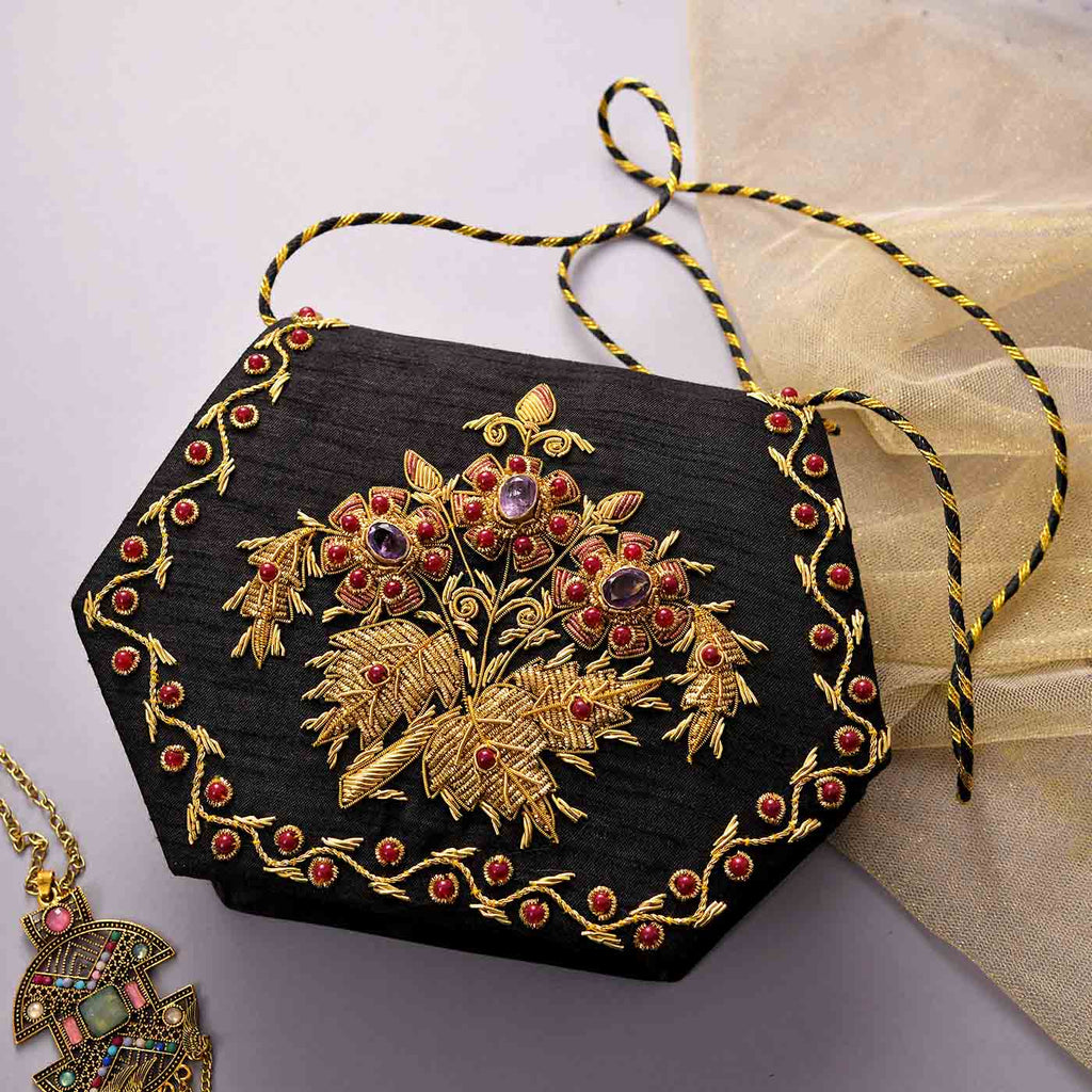 Beautiful Zari Embroidered Clutch