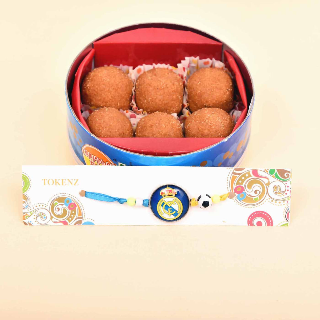 Stylish Soccer Rakhi With Besan Laddoo