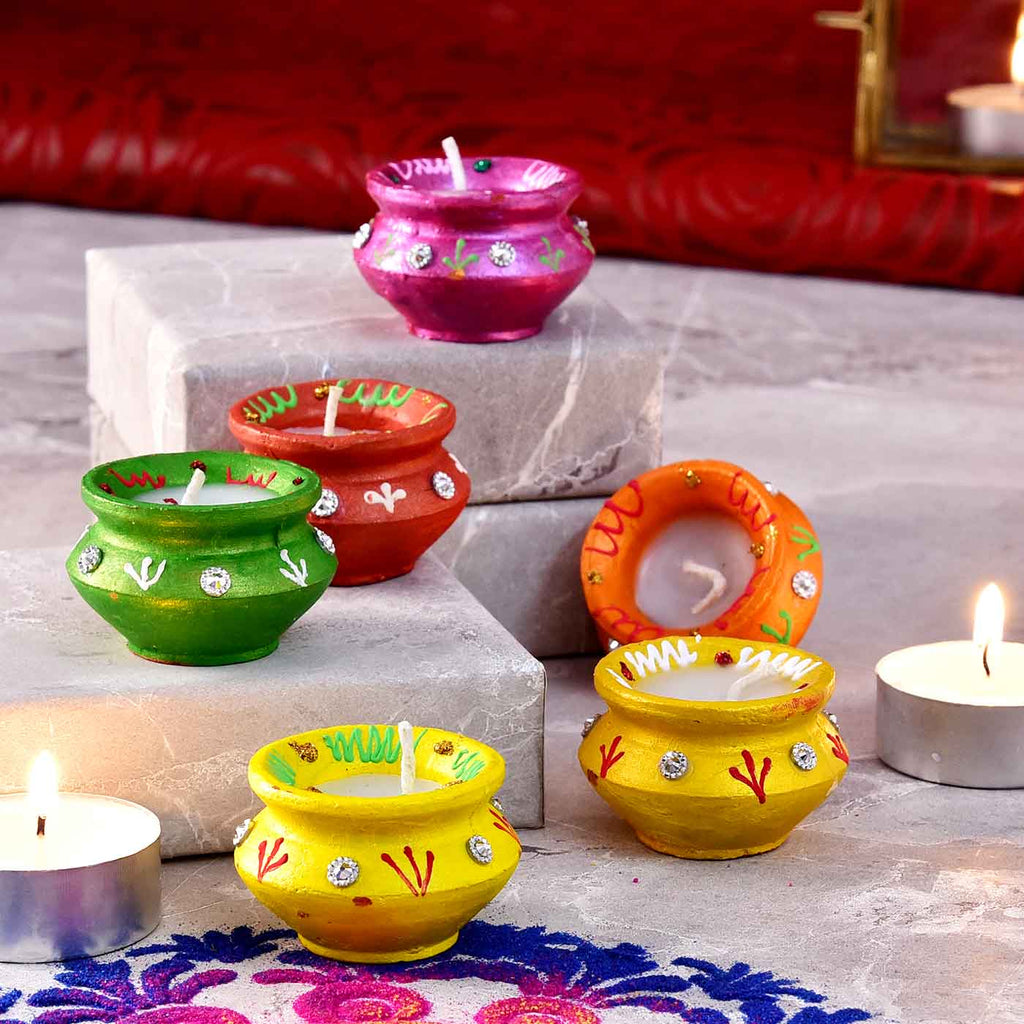 Brightly Colored Set Of 6 Matki Shaped Clay Diyas