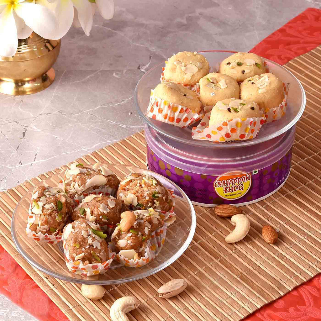 Traditional Magdal & Gond Laddoo CD Sweet Boxes.
