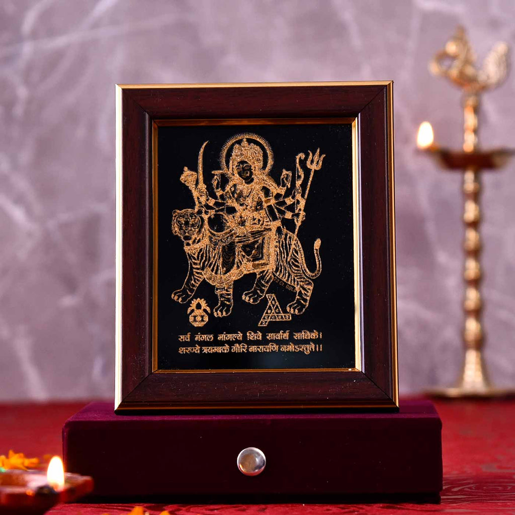 Devotional Maa Durga Gold Frame
