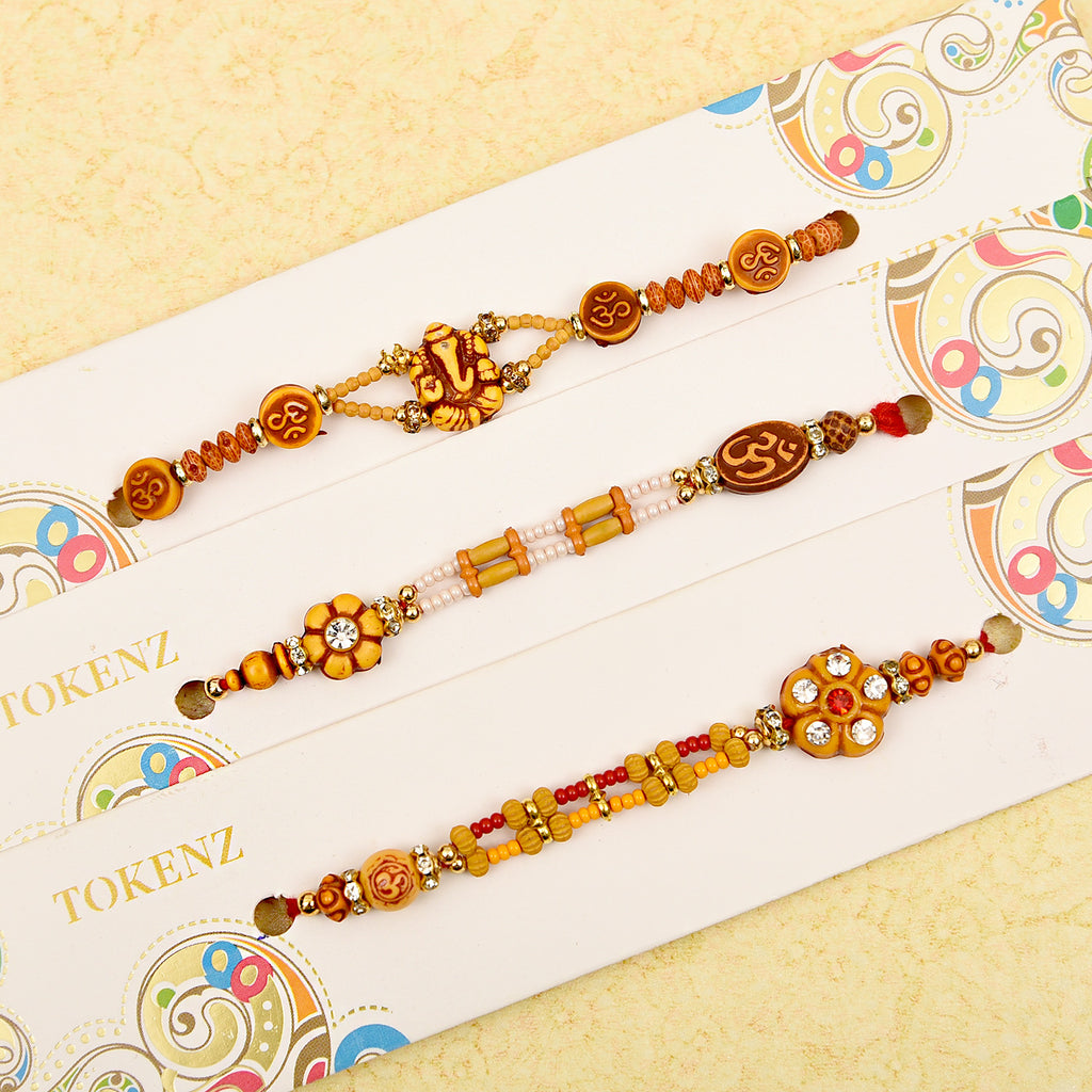 Traditional Set Of 3 Om Beads Rakhis