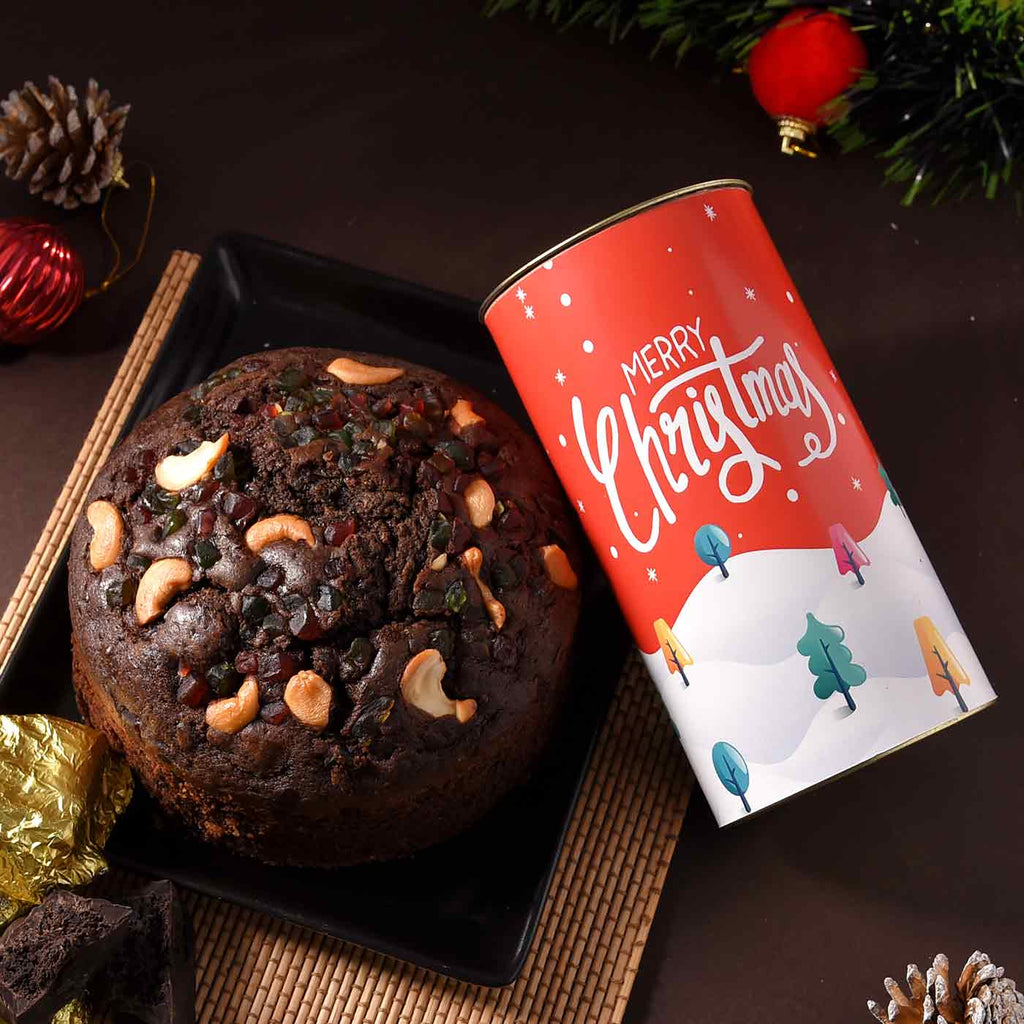 Merry Christmas Combo Of Cashew Cherry Plum Cake & Brownie