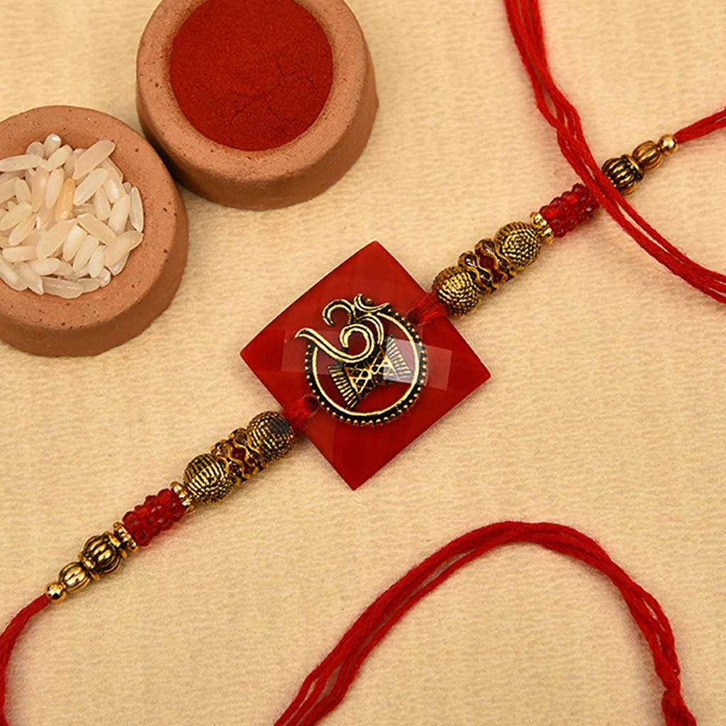 Ethnic Om-Damru Beads Work Rakhi