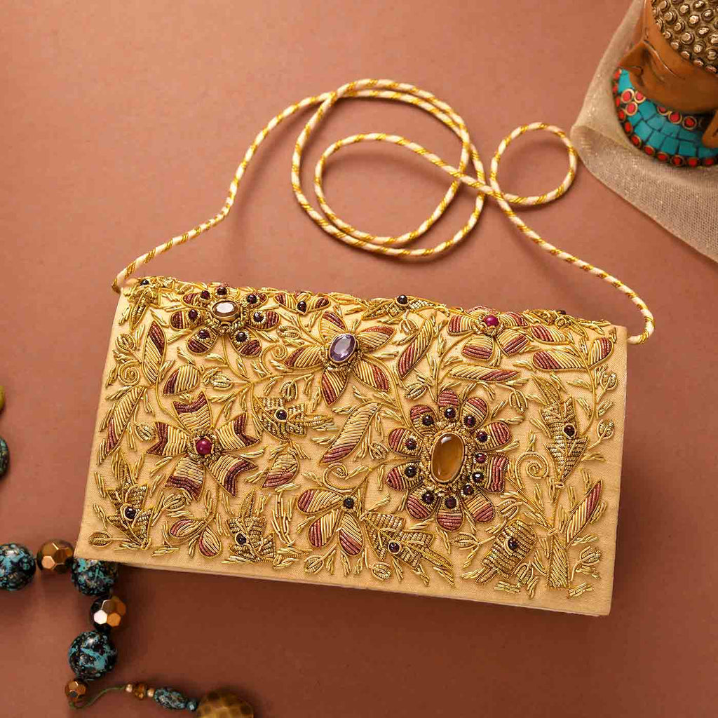 Bridal Zari Work Clutch