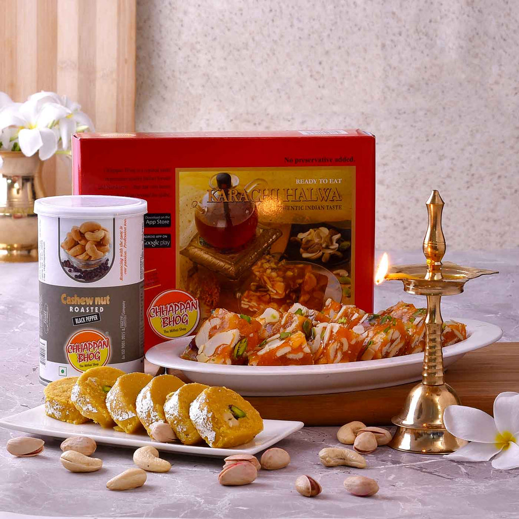 Assorted Hamper of Kerala Deep, Karachi Halwa, Batisa Slice & Roasted Cashews