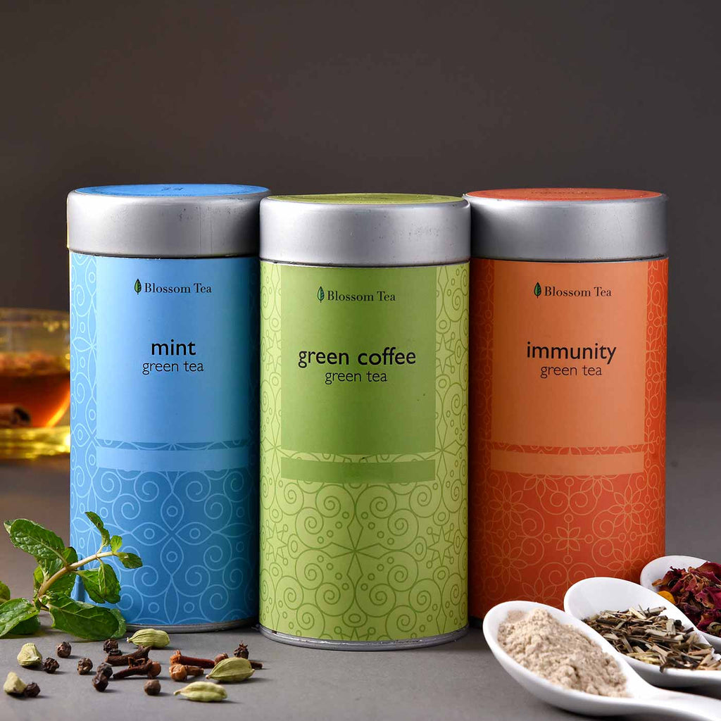 Refreshing Hamper Of Mint, Immunity & Coffee Green Tea