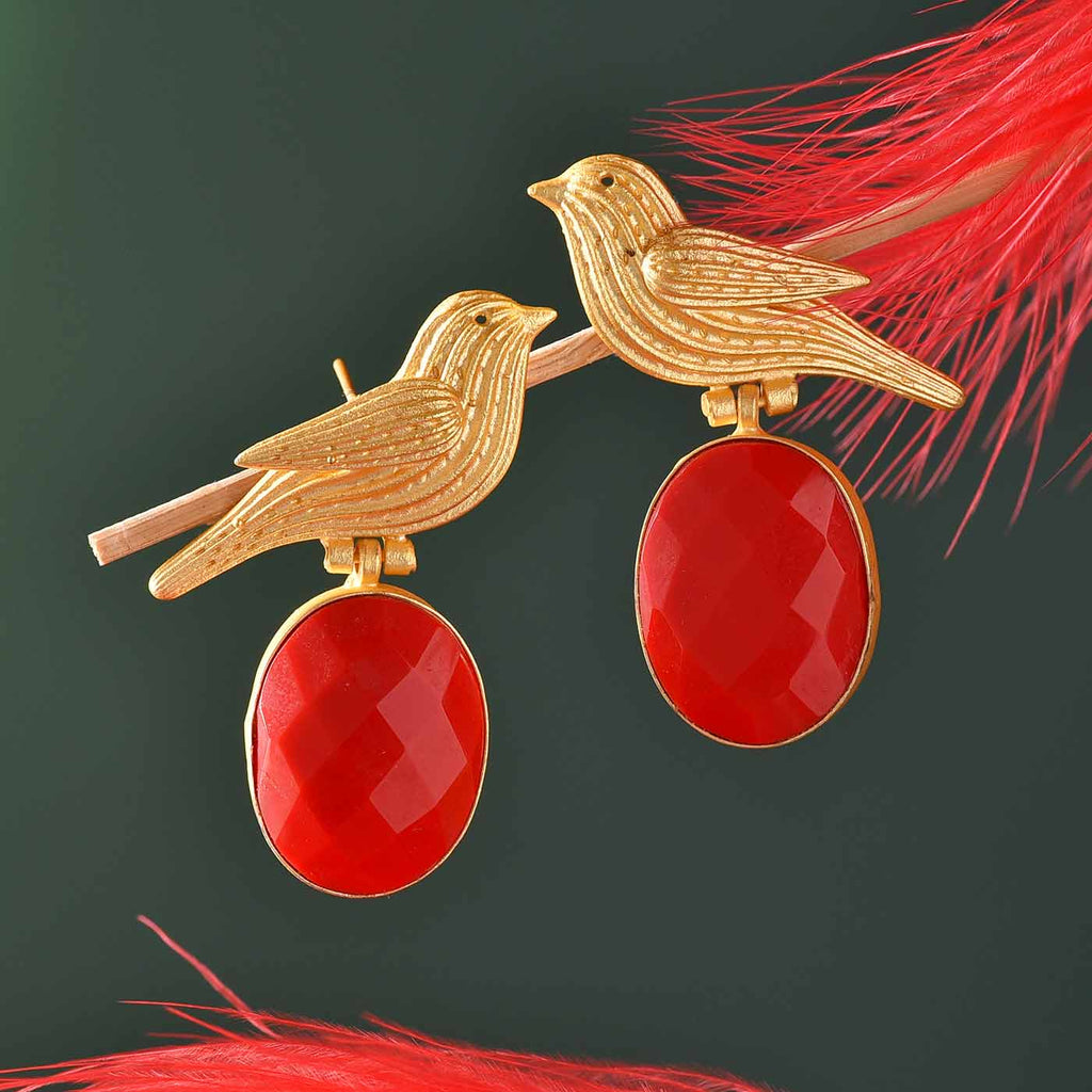 Attractive Red Onyx Birds Earrings