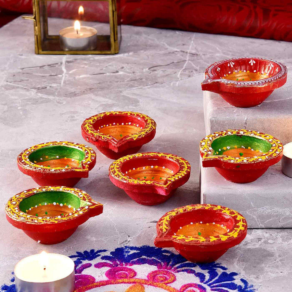 Ethnic  Set Of 7 Handcrafted Diyas