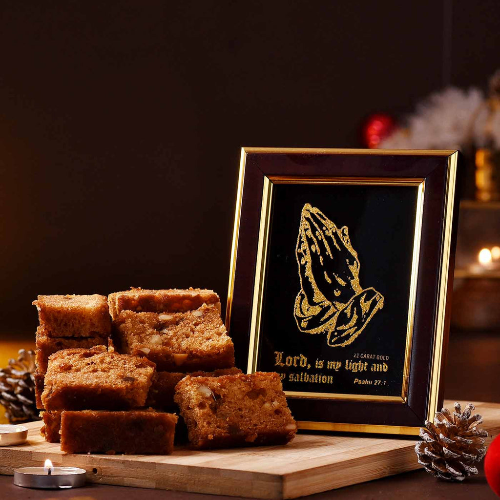 Christmas Special Holy Hands Gold Frame With Dryfruit Slice Cake