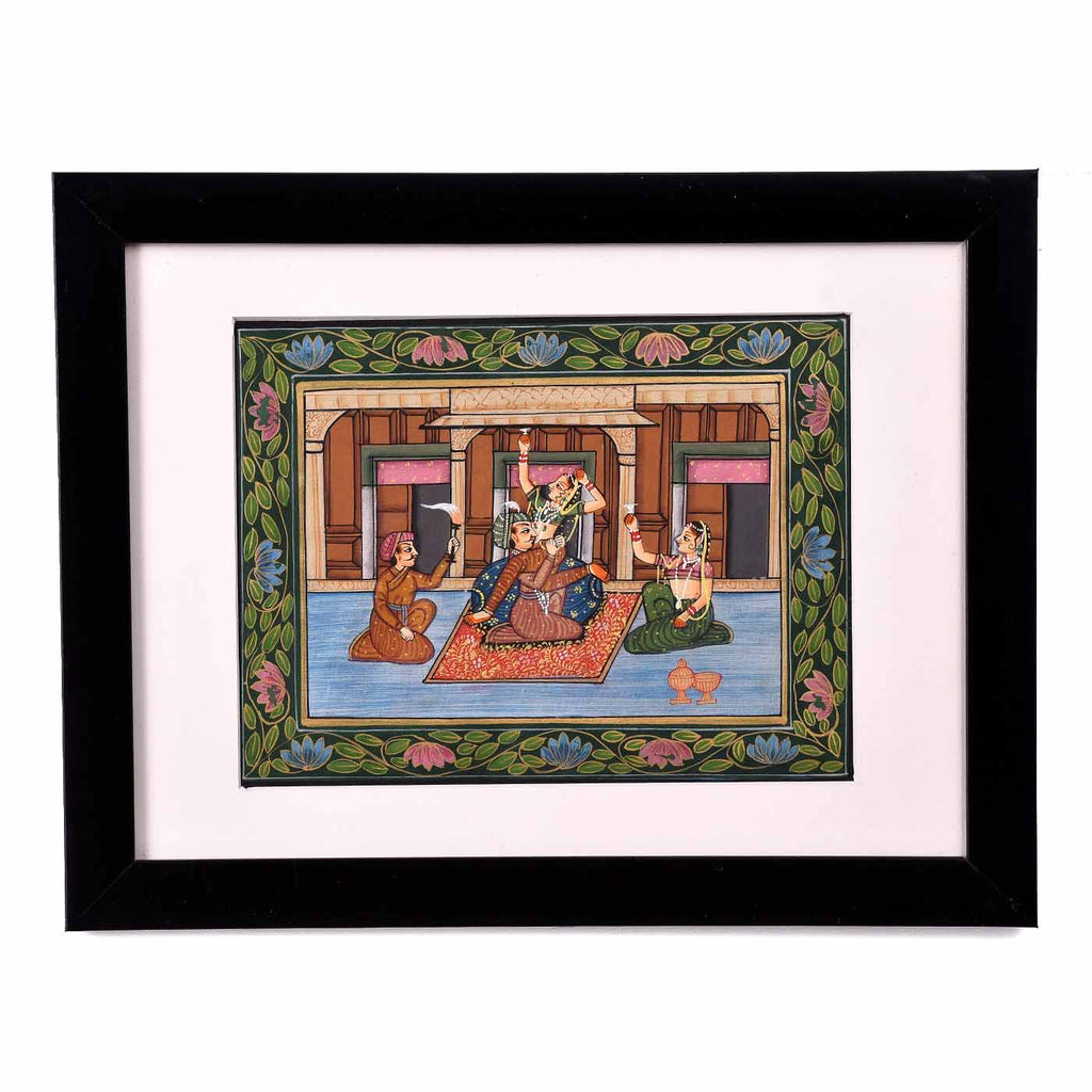 Idyllic Mughal Courtyard Framed Painting (13.5*10.5 Inches)